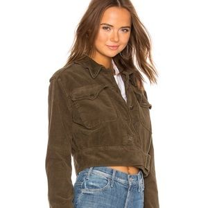 Free People Green cropped corduroy jacket